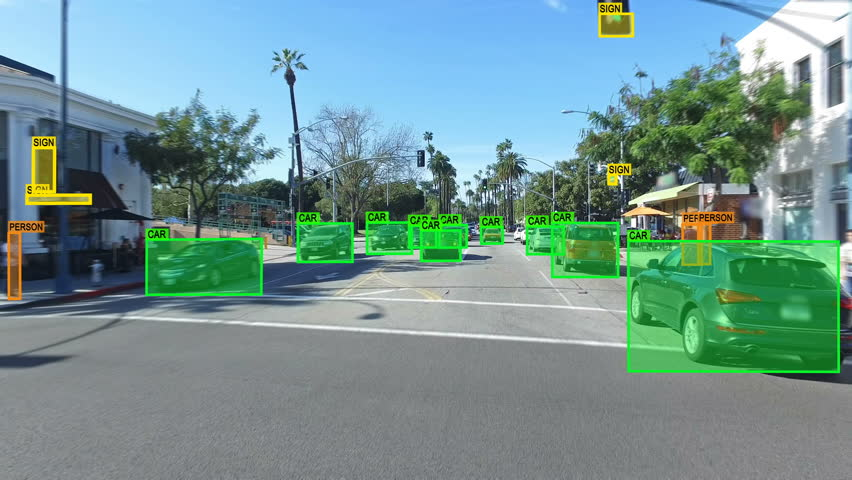 Autonomous car driving through Los Angeles. Computer vision. Object detection system that creates boxes to recognize objects in the streets. Artificial intelligence technology.  | Shutterstock HD Video #31202209