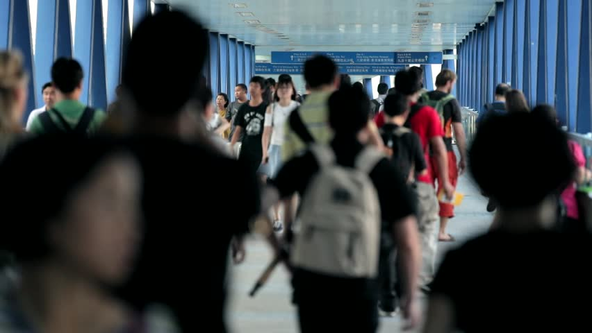 Central, Hong Kong 15 September 2017:- City streets crowded with commuters walking