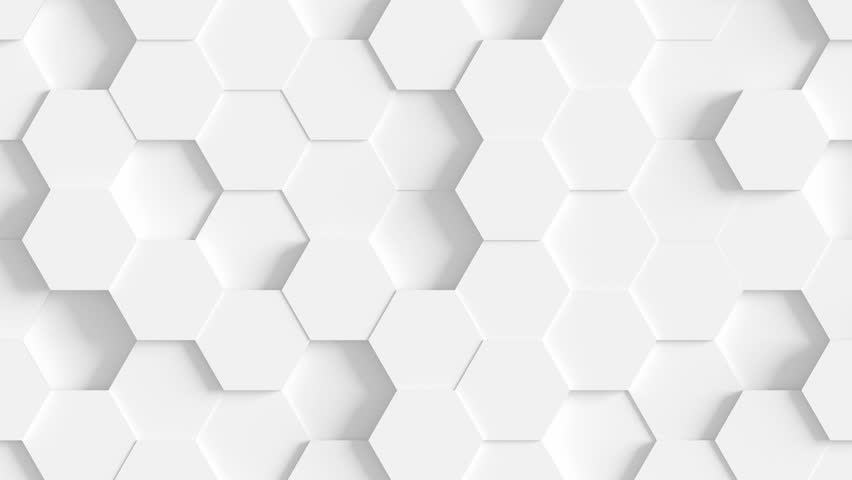 Abstract Hexagon Geometric Surface Loop 1A: light bright clean minimal hexagonal grid pattern, random waving motion background canvas in pure wall architectural white. Seamless loop 4K UHD FullHD.