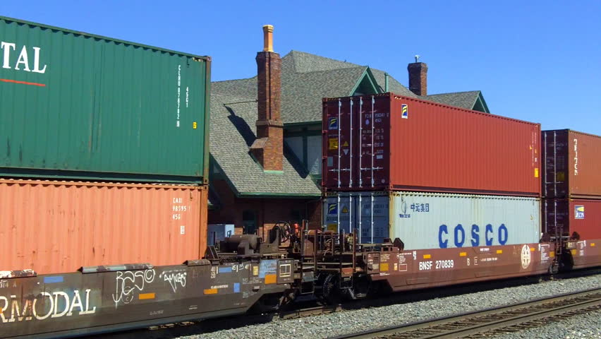 FLAGSTAFF, AZ - September 22, 2012: Shipping containers move on train railroad