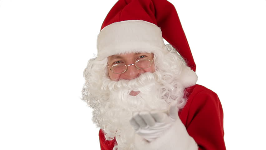 Santa Claus Presenting a Tablet then sending a Kiss and saying Bye Bye, against