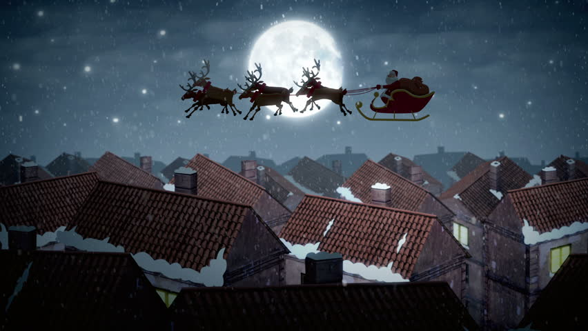 Santa Claus On Magic Sleigh With Deers Flying Over City