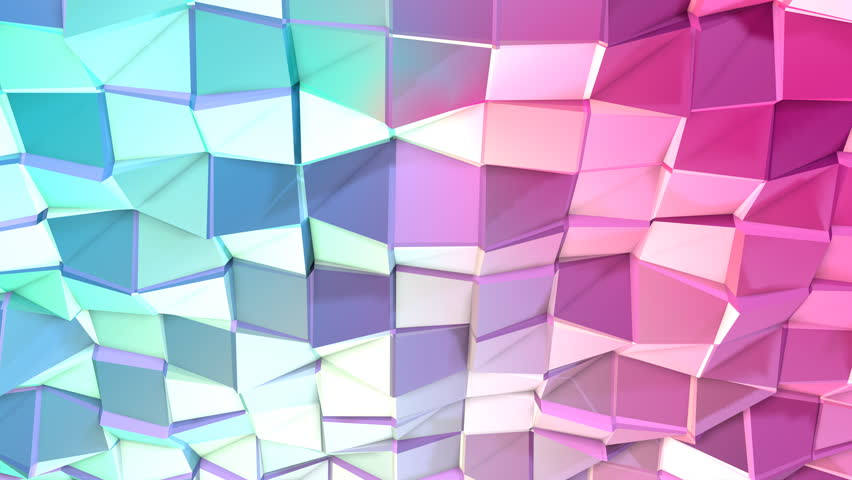 Abstract simple blue pink low poly 3D surface as CG background. Soft geometric low poly motion background of shifting pure blue pink polygons. 4K Fullhd seamless loop background
