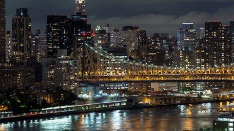 Queensboro Bridge and Manhattan, New York City Night Timelapse