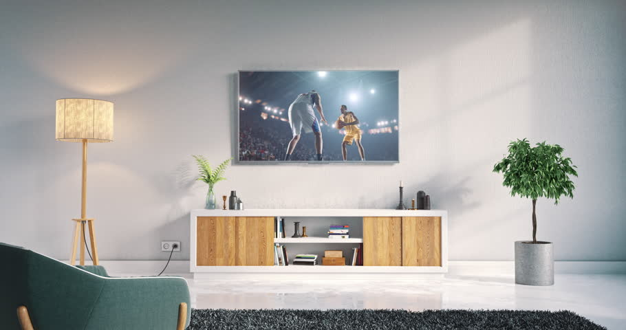 Footage of a living room led tv on white wall with wooden table and plant in pot showing basketball game moment on 3D rendered sports stadium.
