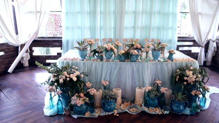 Table Layout At A Wedding Reception. Wedding Celebration Party ...