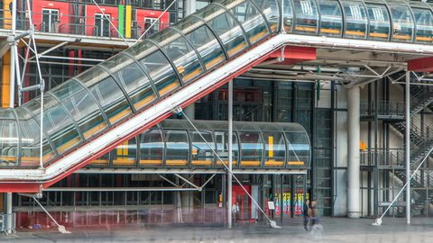 Tube with escalator of the Centre of Georges Pompidou timelapse in Paris, France. The Centre of Georges Pompidou is one of the most famous museums of the modern art in the world.