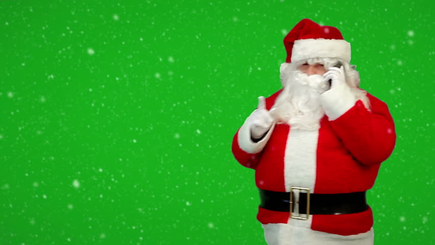 Stock video of santa claus is greeting and waving 3141979 hd0016santa claus calling by mobile cell phone in snowfall full hd video with green key merry christmas seasonal greetings from santa in red suit m4hsunfo
