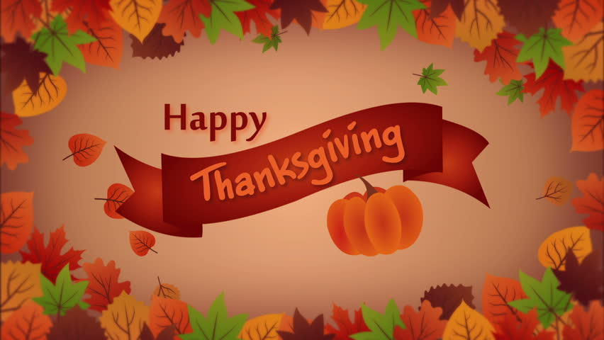 Thanksgiving greeting card with falling leafes and pumpkin | Shutterstock HD Video #31434694