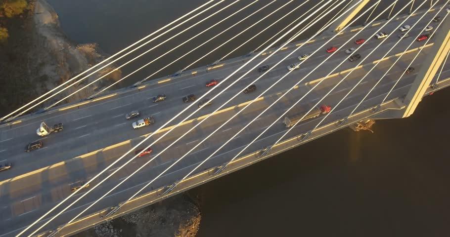 Aerial view at the Christopher S Bond Bridge, Kansas City Missouri. - Revealing city - 4K DLOG ProRes