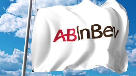 Waving flag with Anheuser-Busch InBev logo against clouds and sky. 4K editorial animation