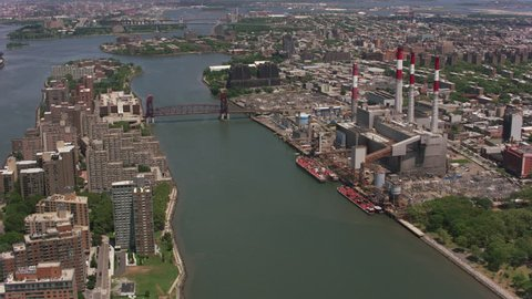 New York City, New York circa-2017, Flying over Roosevelt Island and Queensboro Bridge. Shot with Cineflex and RED Epic-W Helium.
