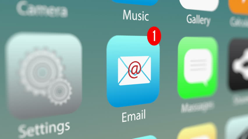 Close Up Shot of E-mail App Icon with Notifications and Incoming E-mail Counter on Smart Phone Screen. New E-Mail Message Notification on Smart Phone Device.