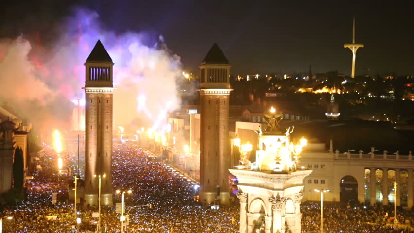 General view on Placa Espana in Barcelona during New Year celebrations