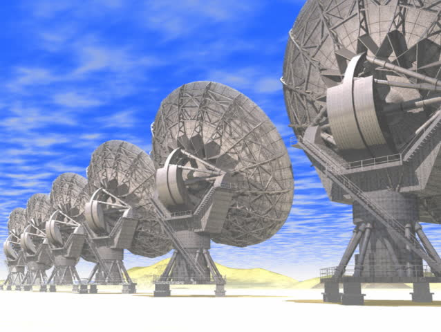 Computer-generated 3D animation depicting VLA radio antennas or radio telescope
