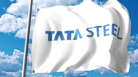 Waving flag with Tata Steel logo against clouds and sky. 4K editorial animation