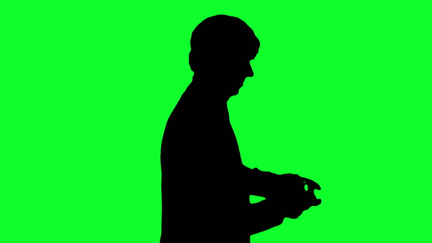 Silhouette Of Man Playing Video Stock Footage Video 100 Royalty