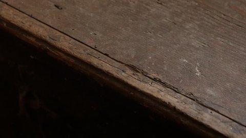 Furniture closed by hand inside ancient house 4K 2160p 30fps UlraHD footage - Details of  rotten wooden chest close-up 3840X2160 UHD video