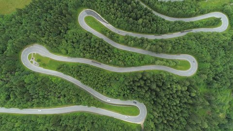 AERIAL, TOP DOWN: Motorcycles and cars driving on zig zag winding road through lush dense spruce forest on mountain slope. Curvy switchback highway with hairpin turns snaking through the woods