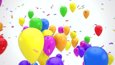 3D CGI animation of colorful confetti falling on vibrant flying balloons over white background. Perfect video for holidays and celebrations