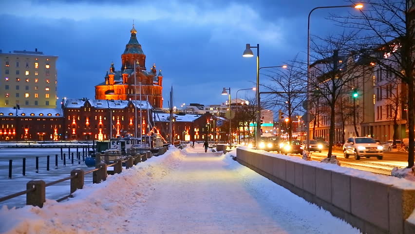 Winter scenery of the Old Town in Helsinki, Finland