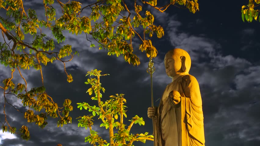 Time lapse - Buddha statue with milky way moon ZEN yoga garden. Statue in beautiful garden. Rice Goddess Japan monk, monetary | Shutterstock HD Video #31603084