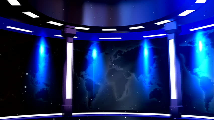 Virtual studio with map of world and background for text, name, logo at the end of