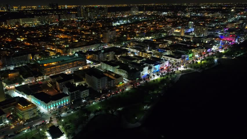 Night establishing shot Miami Beach