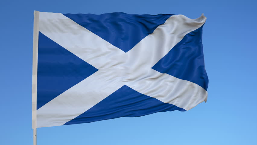 Looping flag for Scotland on flag pole, blowing beautifully in the wind. Includes alpha matte. | Shutterstock HD Video #31664764