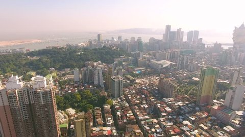 MACAU Flying over the old city center of Macau