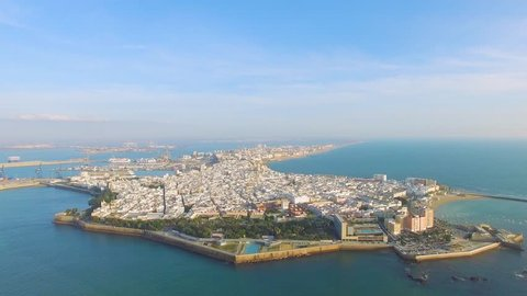 Aerial Cadiz and road with drone