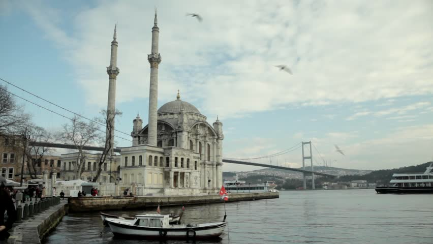 Famous Ortakoy mosque ant the bosphorus bridge in Istanbul Turkey