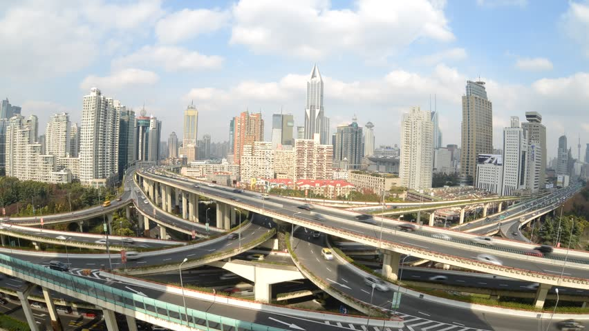 SHANGHAI, CHINA  - Dec 19: Time Lapse of Aerial View of Shanghai busiest