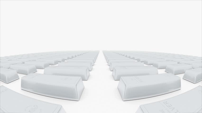 Silver bars moving towards camera. (loop ready) Animation of silver bricks.   Shutterstock HD Video #31687504