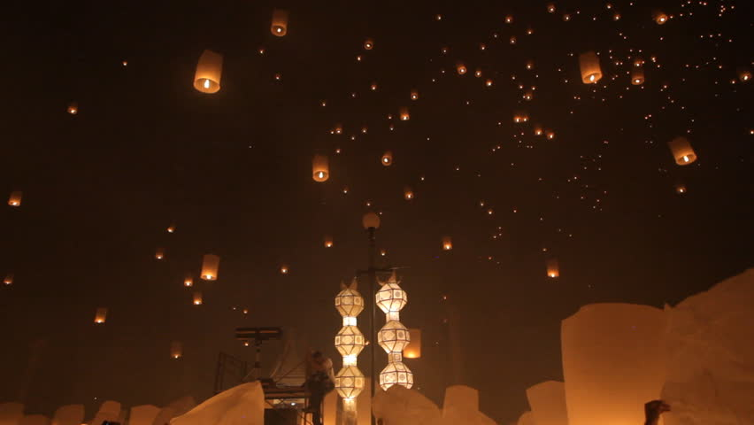 Lanterns launching for Loy krathong buddhist festival in Thailand