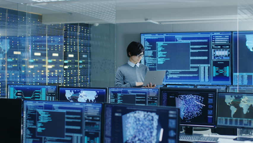 Stock Video Clip of In the Data Center System Control Room ...
