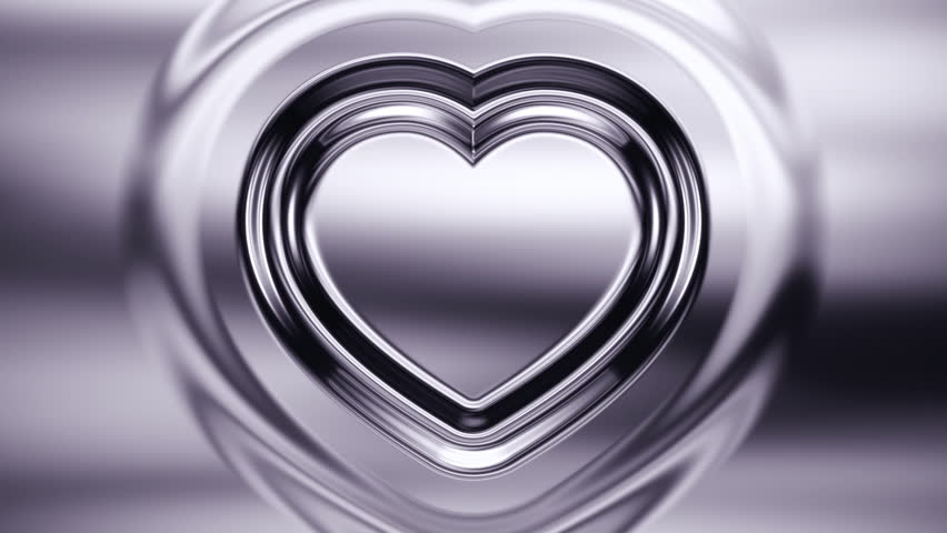 Animated background with heart shape formed with ripple effect. Chrome glossy tint. Seamless loop animation. More color options available in my portfolio.