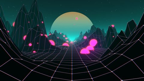 80s Retro Futurism Background (Loop)