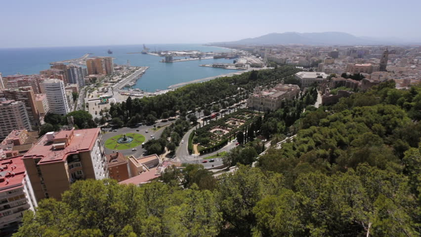 Top View of Malaga, Andalusia, Spain. Aerial View on malaga city with port and bullring.