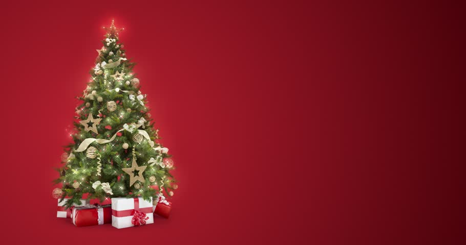 Looping lights decorated xmas tree with gift boxes and magic lights on red background with text space to place logo or copy. Animated abstract Christmas present greeting post card. 4k loop video