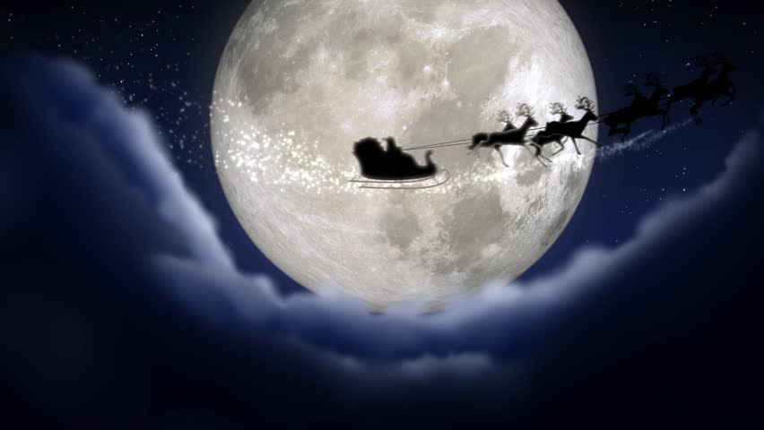 Blue xmas night with moon and clouds with Santa Claus sleight and reindeer silhouette enter and exit flying with text space to place logo or copy.Animated Christmas present greeting post card 4k video | Shutterstock HD Video #31718044