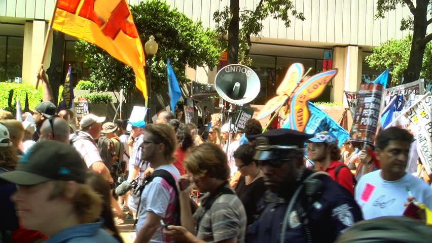 Charlotte, North Carolina-September 3:  large crowd of protesters of various organizations like occupy Wall street march at the Democratic National Convention September 3, 2012 Charlotte, NC USA