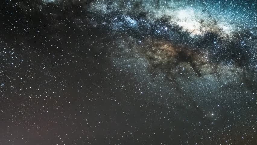 Milky way time lapse galaxy in horizon night time, panoramic universe view at dark sky. Representation of the clear skies with globular cluster. Mojave Desert, Seamless loop Full HD.   Shutterstock HD Video #31732114