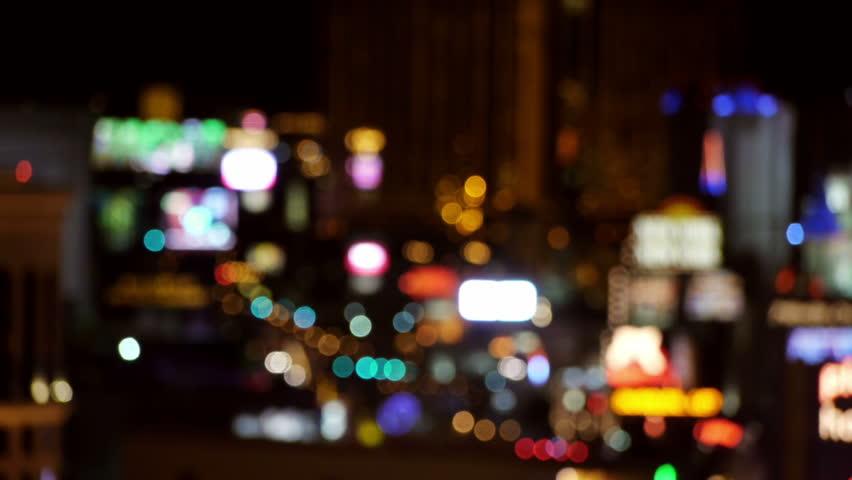 Out Of Focus Vegas Strip Casino Lights Wide View.    | Shutterstock HD Video #3174034