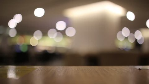 table at restaurant blurred background