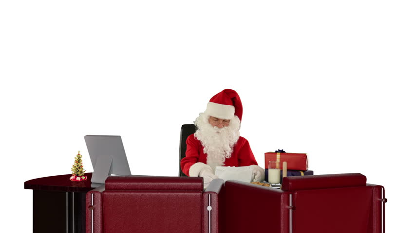 Santa Claus reading letters, against white