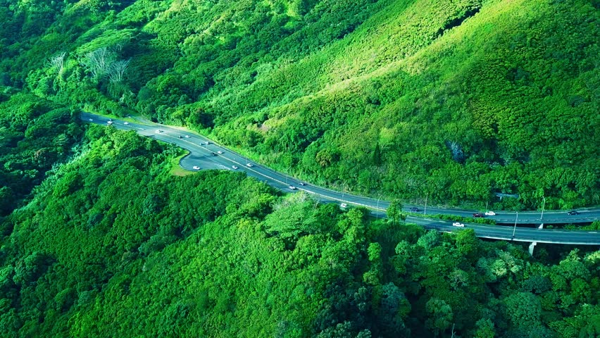 Aerial: Lush Green Tropical Hawaiian Mountain beside Pali Highway.  Sexy Vivid green steep cliffs, blue skies, clouds, and cars driving on road.  Colorful KoOlau Mountains Oahu island in Hawaii.