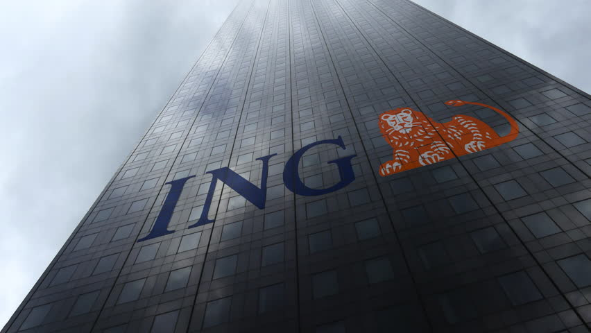 ING Group logo on a skyscraper facade reflecting clouds, time lapse. Editorial 3D rendering