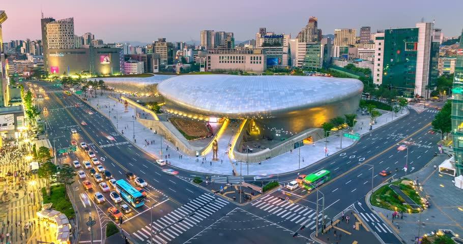 Aerial view of the Dongdaemun Design Plaza at night, Seoul,South Korea. (DDP)