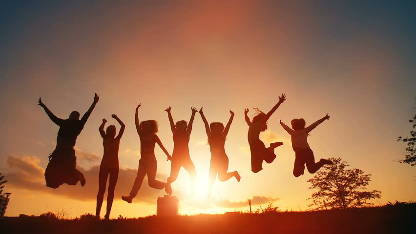 Cheerful People Jumping at Sunset | Shutterstock HD Video #31819969